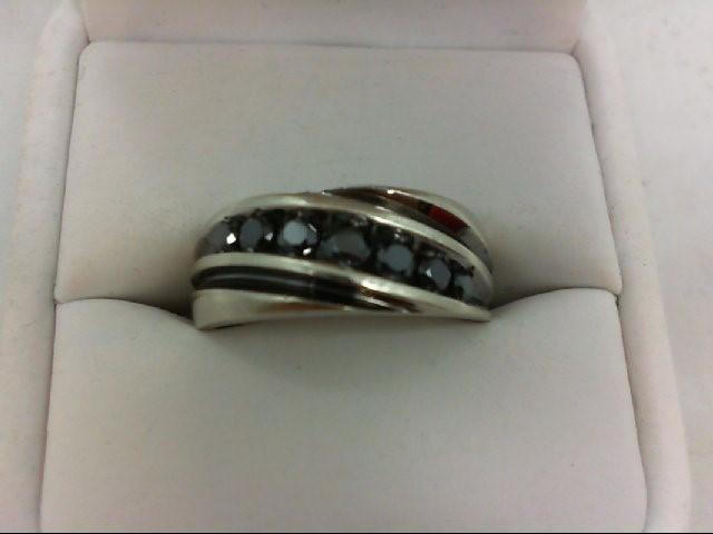Gent's Diamond Fashion Ring 7 Diamonds 0.68 Carat T.W. 10K White Gold 5.6g