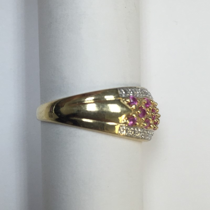 Synthetic Pink Sapphire Lady's Stone Ring 14K 2 Tone Gold 2.2dwt Size:8