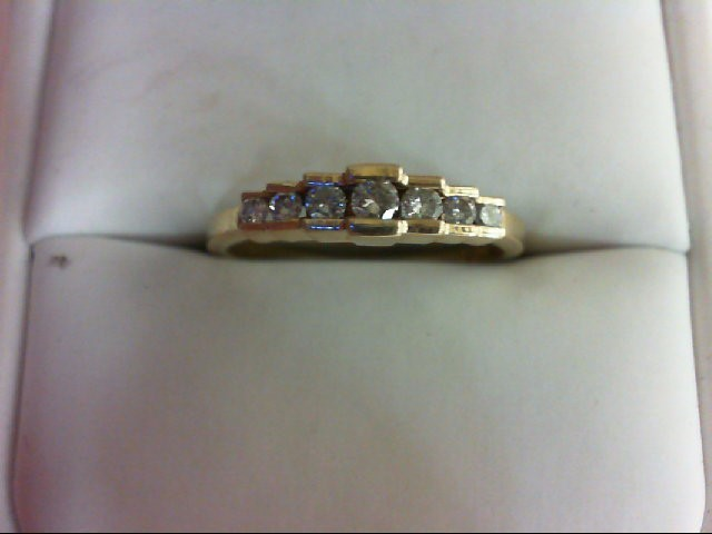 Lady's Diamond Wedding Band 7 Diamonds 0.35 Carat T.W. 14K Yellow Gold 2.7g