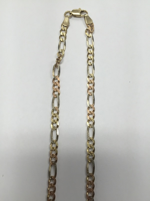 "20"" Gold Figaro Chain 14K Tri-color Gold 16.29g"