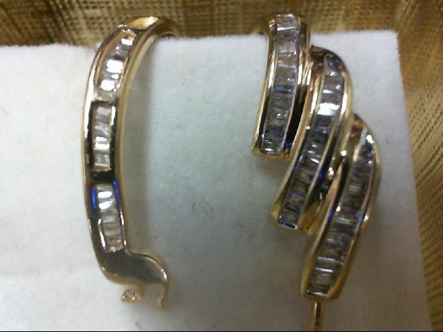 Gold-Diamond Earrings 100 Diamonds 1 Carat T.W. 14K Yellow Gold 4.8g