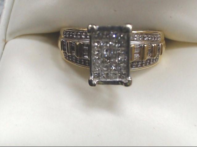 Lady's Diamond Cluster Ring 61 Diamonds .85 Carat T.W. 10K Yellow Gold 4g