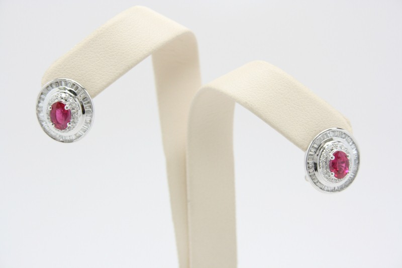 DIAMOND & RUBY 18K WHITE GOLD EARRINGS