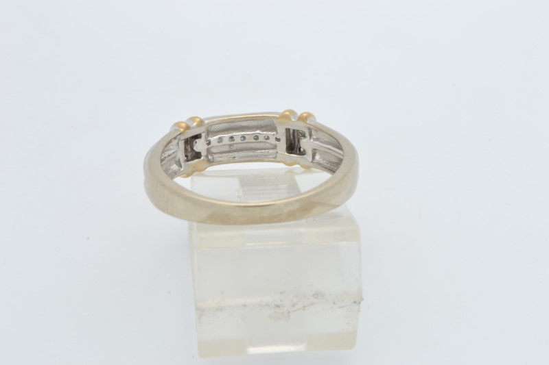 ESTATE DIAMOND RING BAND SOLID 10K GOLD WEDDING TWO TONE SIZE 8.25