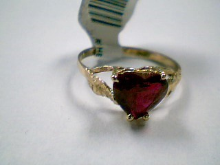 Red Stone Lady's Stone Ring 14K Yellow Gold 1.6g Size:7.5