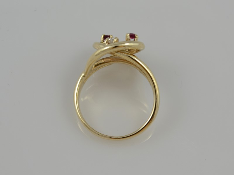 ESTATE RUBY RED DIAMOND RING 10K SOLID GOLD DECO KNOT FLORAL SIZE 7