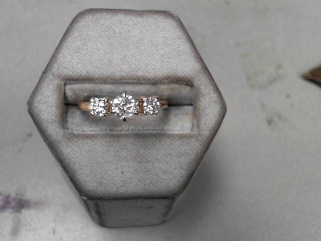 Lady's Gold-Diamond Anniversary Ring 3 Diamonds .52 Carat T.W. 14K Yellow Gold