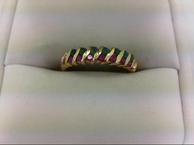 Ruby Lady's Stone Ring 14K Yellow Gold 2.1g Size:6.5