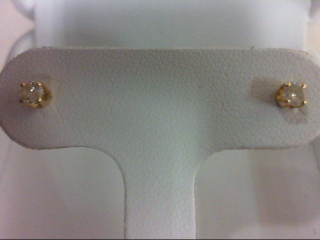 Gold-Diamond Earrings 2 Diamonds 0.2 Carat T.W. 14K Yellow Gold 0.04g