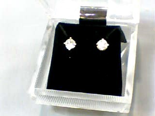Gold-Diamond Earrings 2 Diamonds .44 Carat T.W. 14K Yellow Gold 0.5dwt