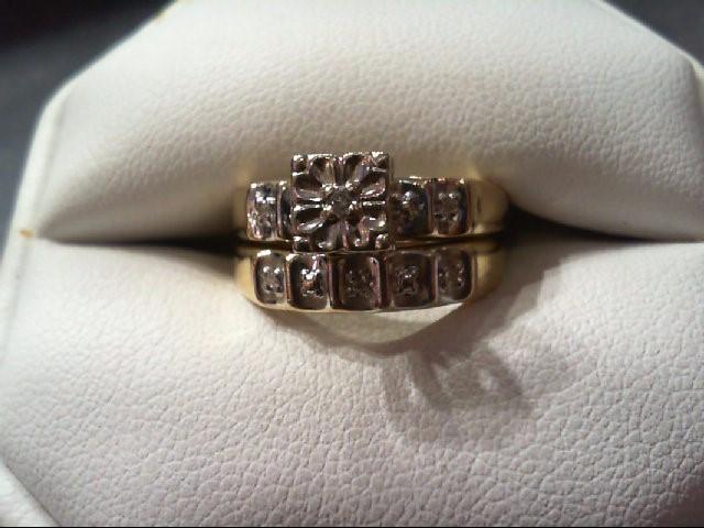 Lady's Diamond Wedding Set 6 Diamonds .055 Carat T.W. 10K Yellow Gold 3.7g