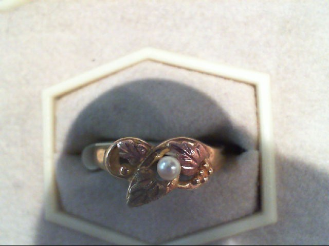 Synthetic Pearl Lady's Stone Ring 10K 2 Tone Gold 3g