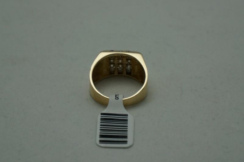 Gent's Diamond Cluster Ring 15 Diamonds .75 Carat T.W. 14K Yellow Gold 6dwt