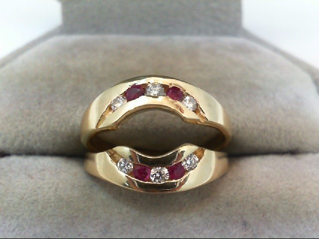 Ruby Lady's Stone & Diamond Ring 6 Diamonds .30 Carat T.W. 14K Yellow Gold 4.4g
