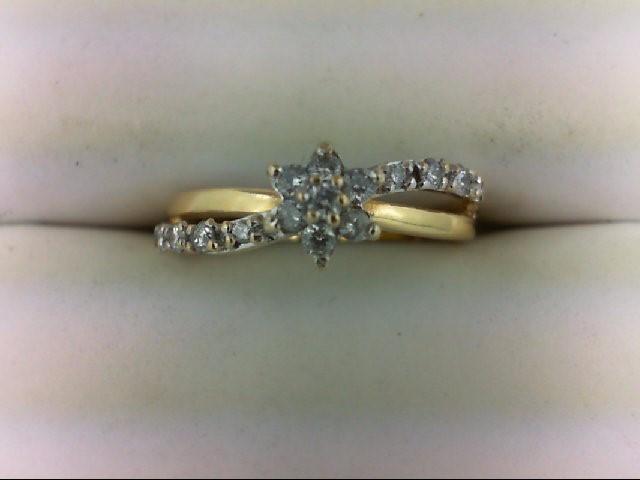 Lady's Diamond Cluster Ring 15 Diamonds 0.37 Carat T.W. 14K Yellow Gold 2.3g