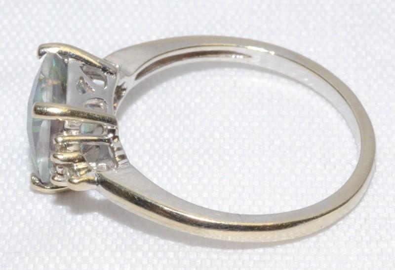 GORGEOUS CUSHION CUT MYSTIC TOPAZ & 6 DIAMOND RING 14K WHITE GOLD RING SIZE 6.75