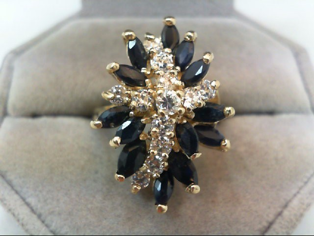 Sapphire Lady's Stone & Diamond Ring 12 Diamonds .98 Carat T.W. 14K Yellow Gold