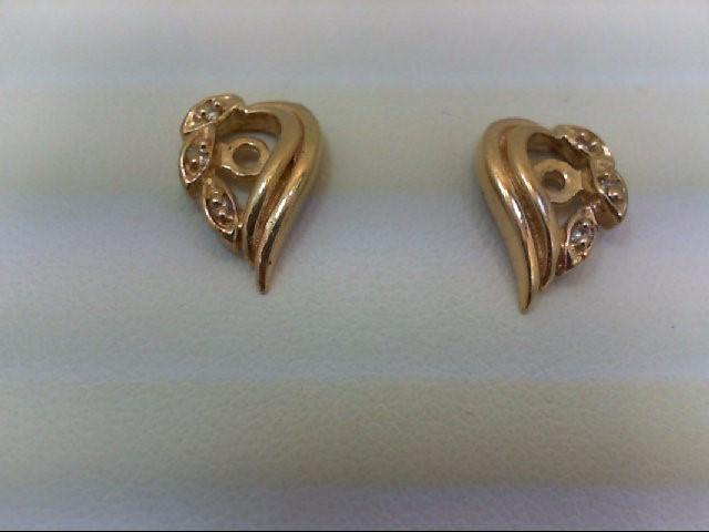 Gold-Diamond Earrings 6 Diamonds 0.06 Carat T.W. 14K Yellow Gold 1.8g