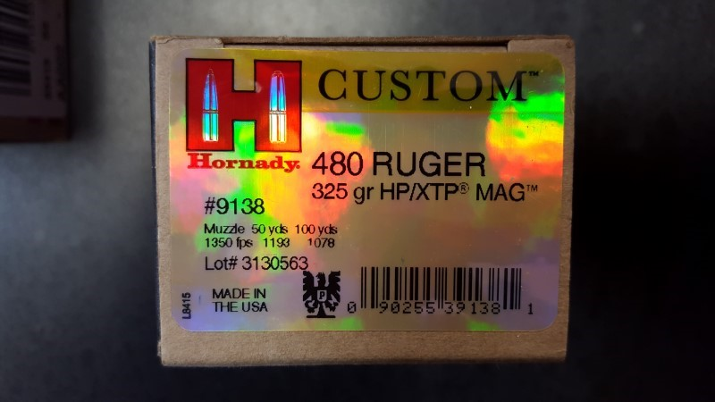 HORNADY Ammunition CUSTOM .480 RUGER 325GR HP/XTP (9138)