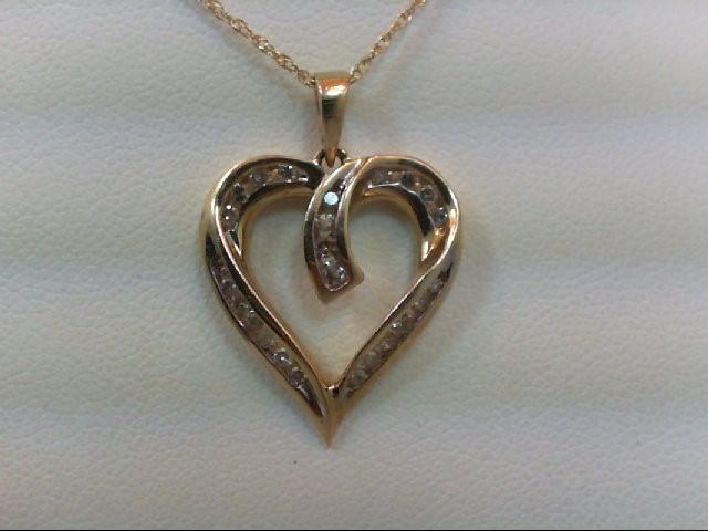 Gold-Multi-Diamond Pendant 26 Diamonds .30 Carat T.W. 10K Yellow Gold 2.5g