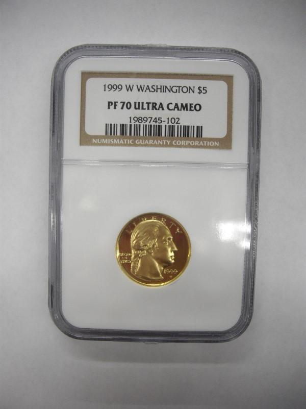 UNITED STATES 1999 W WASHINGTON $5 GOLD PF 70 ULTRA CAMEO