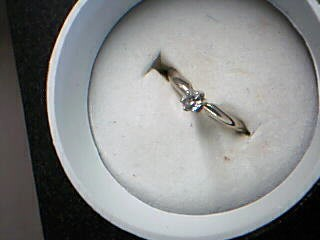 Lady's Diamond Solitaire Ring .10 CT. 14K White Gold 1.53g Size:5.5