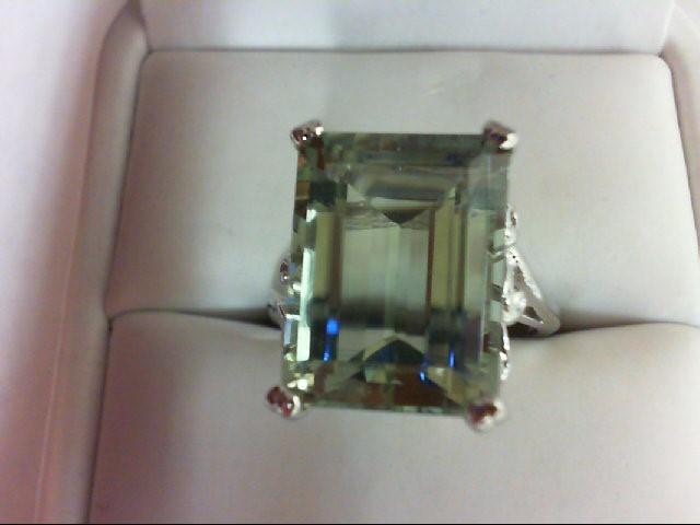 Peridot Lady's Stone Ring 10K White Gold 6.1g