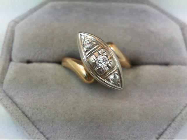 Lady's Diamond Engagement Ring 3 Diamonds .26 Carat T.W. 14K 2 Tone Gold 3.8g