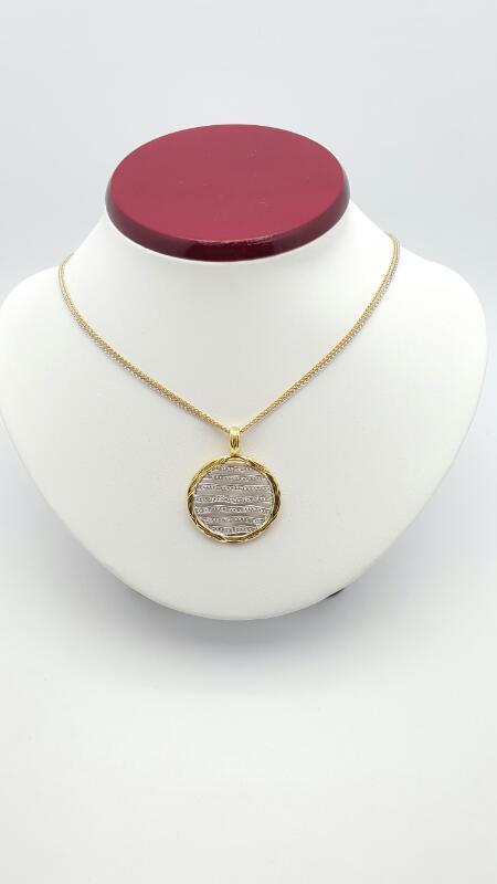 "16"" Diamond Necklace 112 Diamonds .560 Carat T.W. 18K 2 Tone Gold 15.8g"