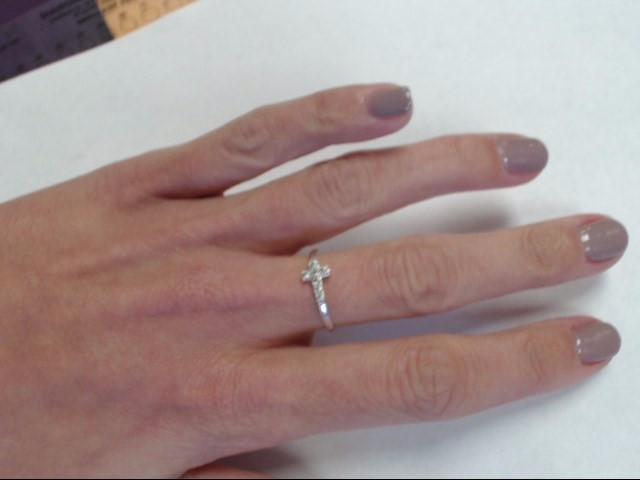 LADY'S CROSS AND STONE SILVER RING Size:7.25