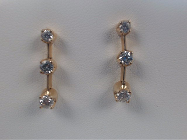 Gold-Diamond Earrings 3 Diamonds 0.45 Carat T.W. 14K Yellow Gold 3.6g