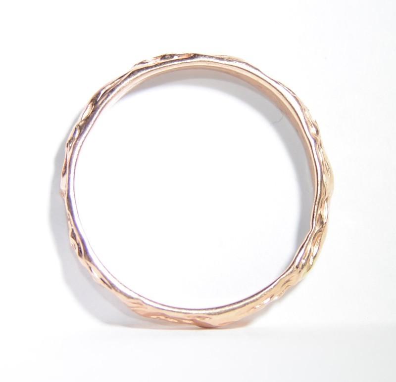 14K Rose Gold Textured Eternity Wedding Stacker Ring sz 8