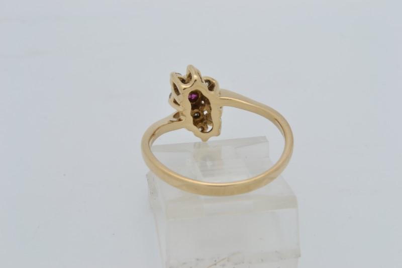 ESTATE DIAMOND RUBY RING SOLID 14K GOLD CLUSTER FLOWER SIZE 6.50