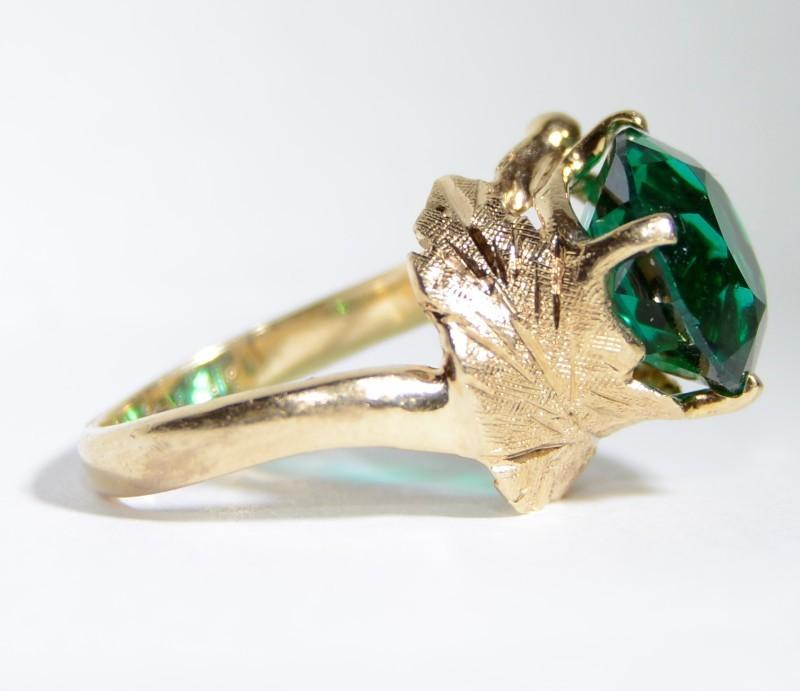 14K Yellow Gold Diamond Cut Leaf Design Large Green Stone Coctail Ring sz 3