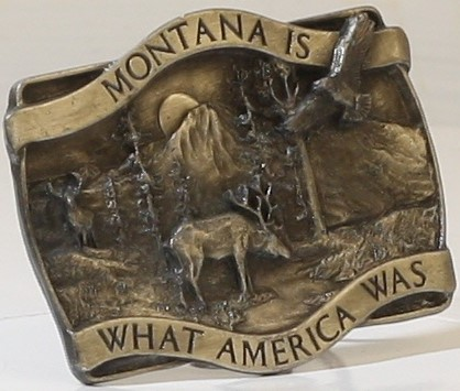 """""""MONTANA IS WHAT AMERICA WAS"""" PEWTER BELT BUCKLE, 1981 BERGAMOT BRASS WORKS, OR"""