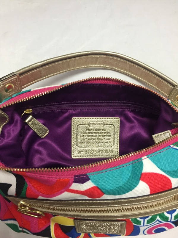 COACH ART DECO CANVAS HANDBAG F20039, HOBO STYLE, MULTI-COLORED
