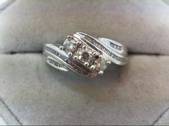 Lady's Diamond Cluster Ring 43 Diamonds .70 Carat T.W. 10K White Gold 3.4g
