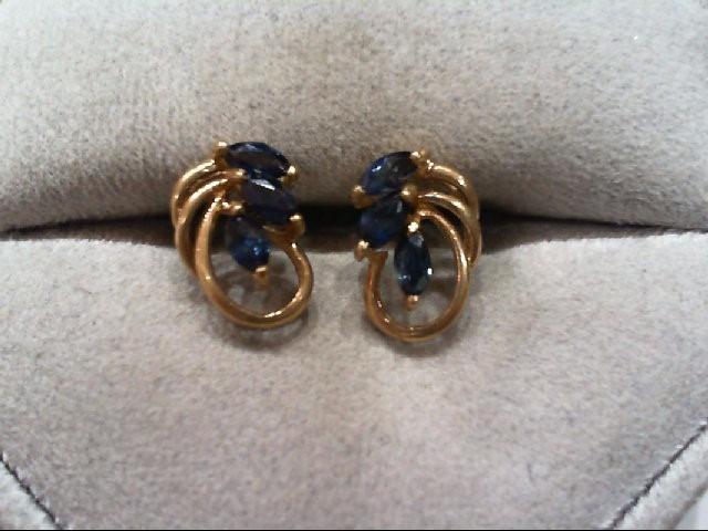 Sapphire Gold-Stone Earrings 14K Yellow Gold 1.1g