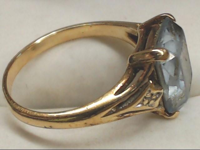 Blue Stone Lady's Stone Ring 10K Yellow Gold 3g Size:7