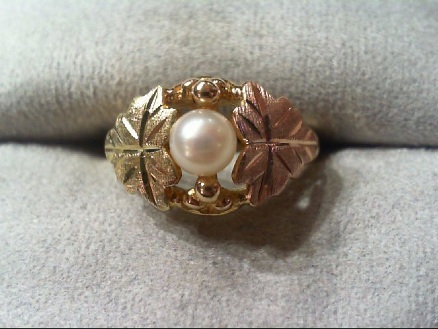 Pearl Lady's Stone Ring 10K Tri-color Gold 2.8g