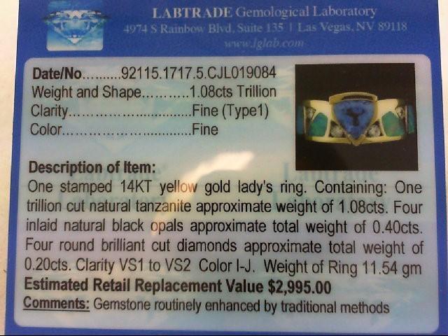 Tanzanite Lady's Stone & Diamond Ring 4 Diamonds .20 Carat T.W. 14K Yellow Gold