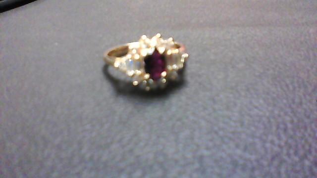 Almandite Garnet Lady's Stone & Diamond Ring 14 Diamonds .40 Carat T.W.