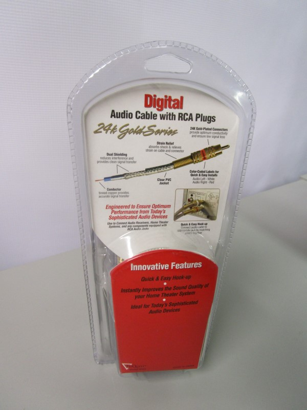 DIGITAL 6FT. AUDIO CABLE WITH RCA PLUGS, 24K GOLD SERIES