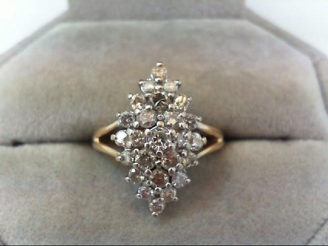 Lady's Diamond Cluster Ring 27 Diamonds .96 Carat T.W. 10K Yellow Gold 4.2g