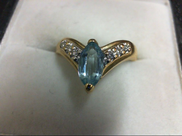 Blue Topaz Lady's Stone & Diamond Ring 6 Diamonds 0.06 Carat T.W. 14K Yellow Gol