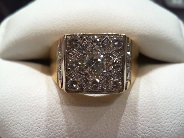Gent's Gold-Diamond Wedding Band 15 Diamonds 1.36 Carat T.W. 14K Yellow Gold