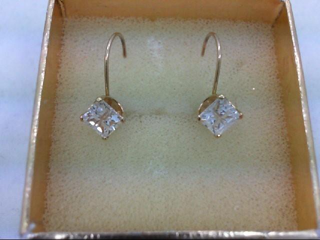 Cubic Zirconia Gold-Stone Earrings 14K Yellow Gold 1.3g