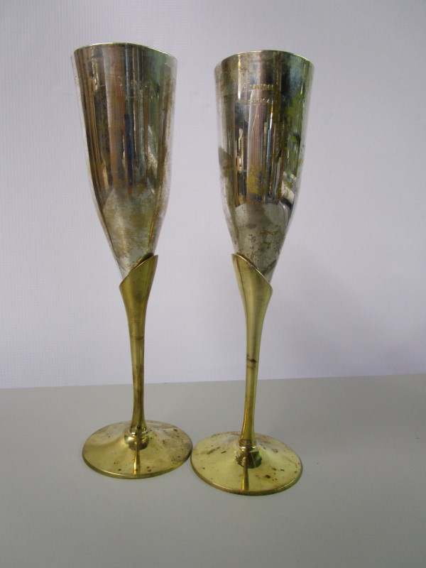 PENCO SILVER AND BRASS WEDDING FLUTES, DETACHABLE, ENGRAVED