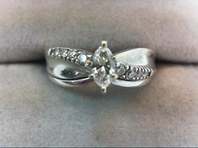 Lady's Diamond Wedding Set 9 Diamonds .39 Carat T.W. 14K White Gold 4.1g