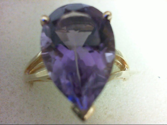 Amethyst Lady's Stone Ring 10K Yellow Gold 4.5g